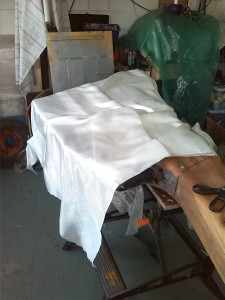 cuting the rudder cloth